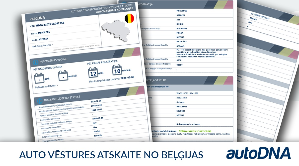 auto vesture no Beļģijas atskaite