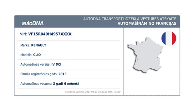 autoDNA vēstures atskaite automašīnām no Francijas kopsavilkums