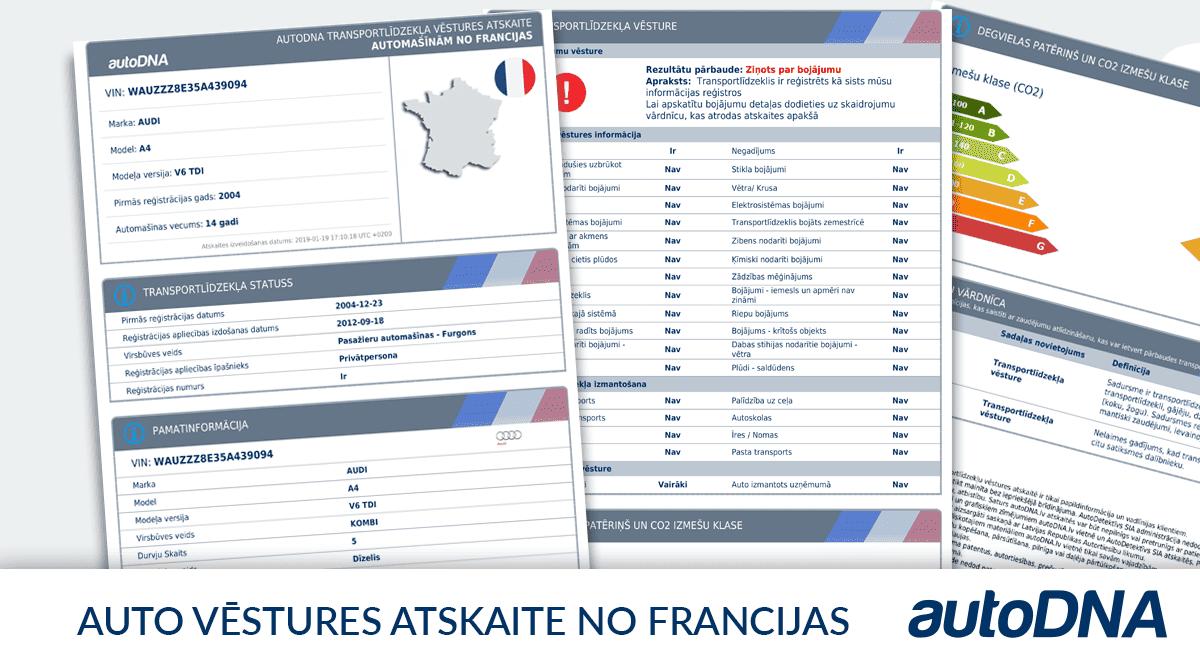 autoDNA automašīnas vēstures atskaite no Francijas