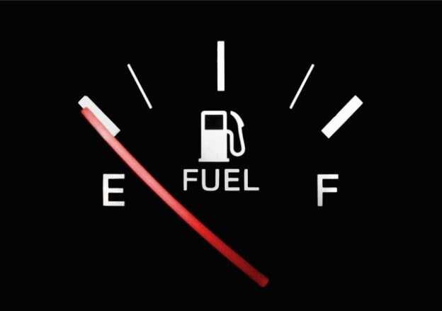 Zems degvielas līmenis